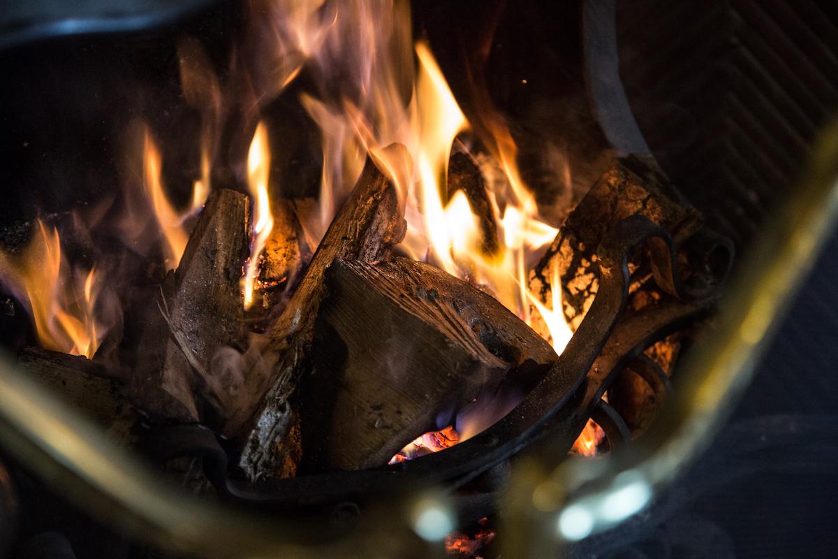 Wood burner in bar